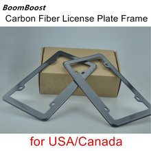 BoomBoost High Quality Front Rear Carbon Fiber Look USA/Canada License Plate Frame Tag Cover Holder car styling 2 pieces