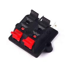 5PCS Double Row 4 Positions (side/curved foot) Connector Terminal Push in Jack Spring Load Audio Speaker Terminals(China)