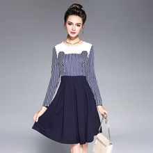 Fashion Blue Stiped Autumn Women Dress Long Sleeve O-Neck Casual Ladies Day Offical Dress Plus Size Vestidos