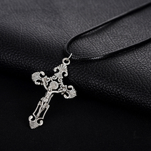 Punk Style All- match Leather Chain Tibetan Silver Cross Pendant Necklace Jewelry for Women Men