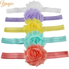 "30colors DHL Free 600pcs/lot 2.5"" frayed Chic Shabby Flowers Headband for baby and children hair Accessories Headwrap Headband"