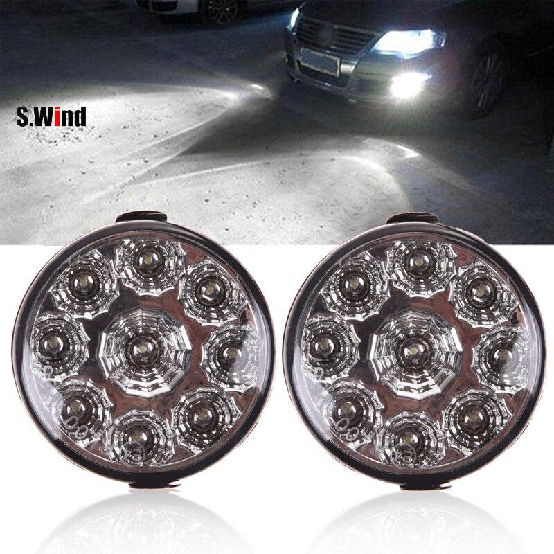 2Pcs/Lot Car Lights Super Bright 9 LEDs Car Light Universal Daytime Running Light LED Fog Light Head Lamp 9W 6000k-7000k<br><br>Aliexpress