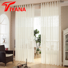 European White luxury striped circle design curtain tulle fashion home curtain for bedroom living room kitchen  P094Z20