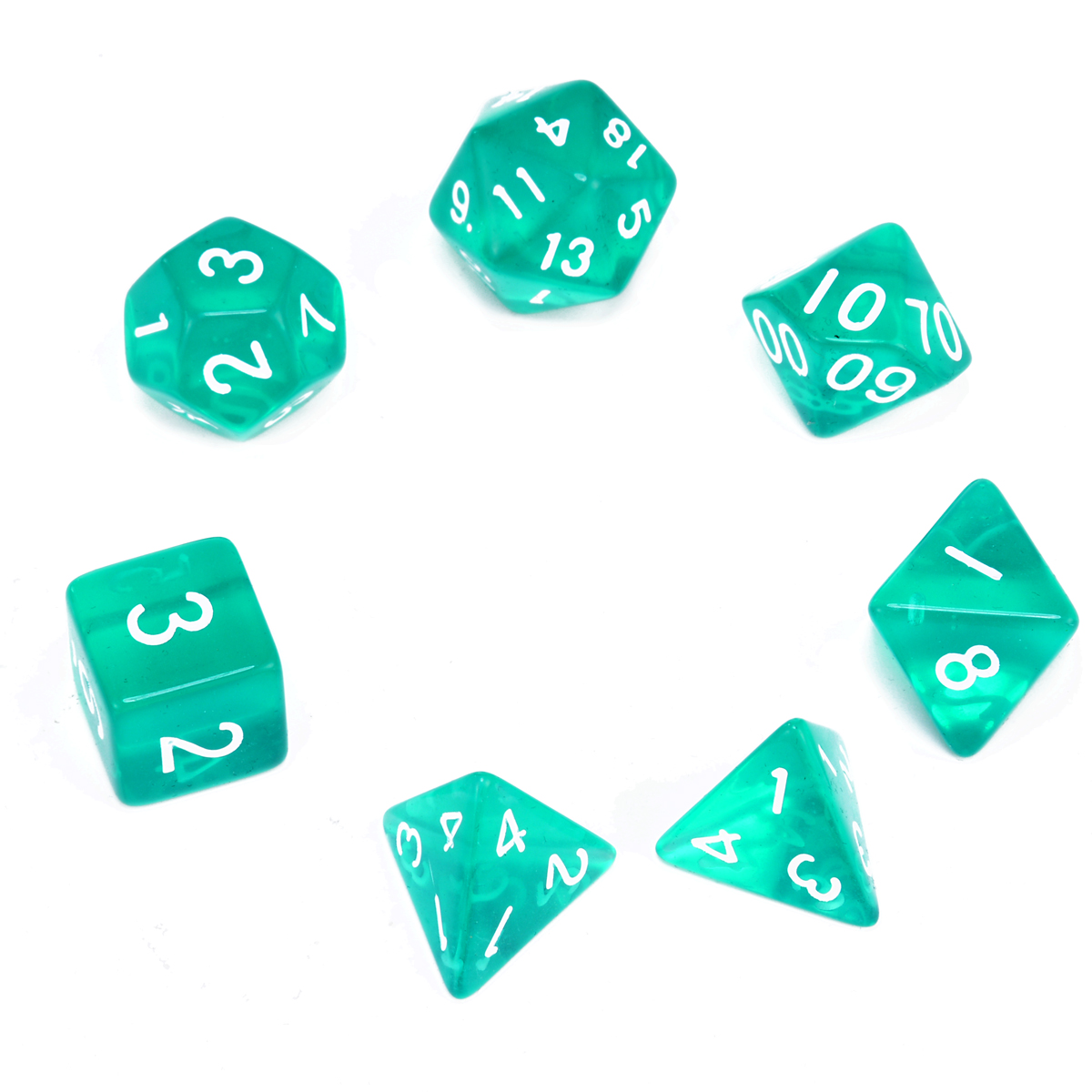 Green Translucent Dices With Bag 7x Polyhedral Dice Set For Dragons and Dungeons  RPG D4 - D20 School Bar Gambling Outdoor Games