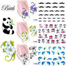 Bittb 2 Sheets Flower Cute Animal Nail Art Sticker Water Transfer Wraps Nail Sticker DIY Tips Nail Decals Decoration Tools(China)