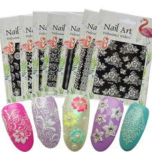 1 Sheets 2017 Hot Flower Carved Printing Pattern 24 Designs 3D Nail Sticker White Decals Nail Art Tips DIY Accessory TRDP201-224