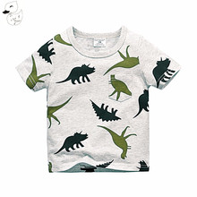 BINIDUCKLING 2017 Boys Short Sleeve T Shirts Summer Shirt Kid Baby Children Clothing Captain Anchors dinosaur printed tshirt(China)