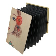 Accordion Expanding DIY Photo Ablum w/ Photo Corner Black Paper Journal Notebook,34 Page Blank Scrapbook Adhesive Memory Book(China)