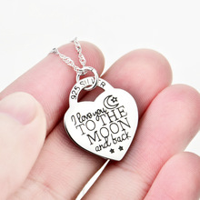 I Love you to the moon and back Love Heart S925 Sterling Silver Personalized Letter Pendant Necklace with Chain Women's gift