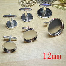 100pcs Wholesale Silver Plated French Cuff links Jewelry with inner 12mm Bezel Setting Tray for Cameo Cabochonsons