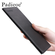 Padieoe 2016 New Mens Wallet Leather Genuine Luxury Brand Long Purse Card Holders Fashion Super Thin Cow Male Wallets(China)