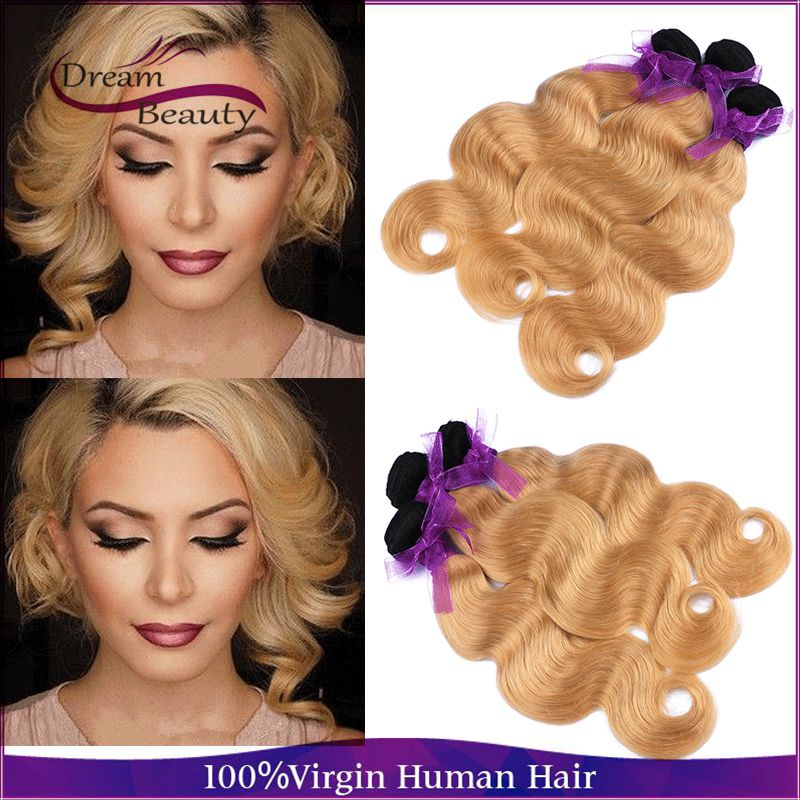 Dream beauty hair 1b/27 two tone ombre brazilian hair body wave 3 bundles/lot human hair weave honey blonde bmbre human hair<br><br>Aliexpress