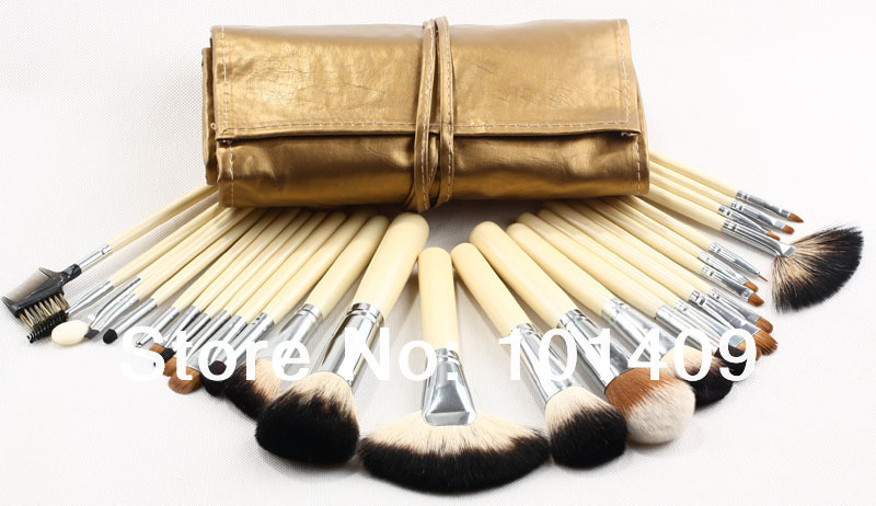 ISMINE 28 Pcs Makeup Brushes Fan Highlighter Brush Eyebrow Contour Brushes Makeup Mineral Brush Cosmetics Set with Golden Bag <br>