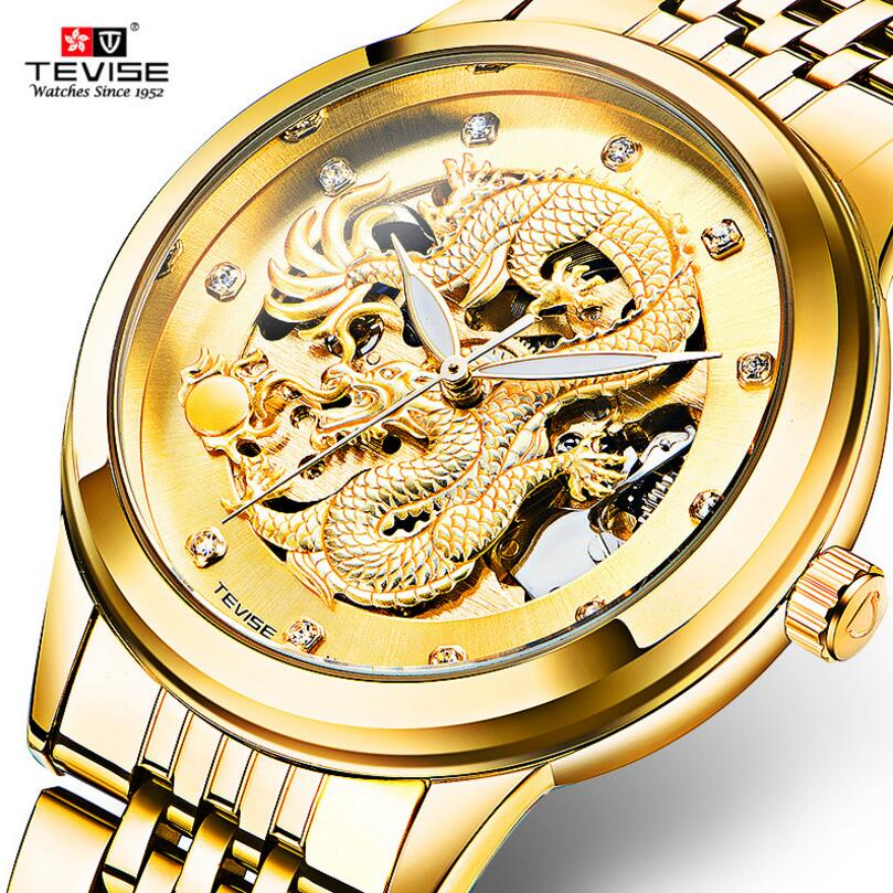 Tevise Luxury Relogio Masculino Mens Dragon Golden Crystal Hollow Out Dial Auto Mechanical Wristwatch Gift Box Free Ship<br>