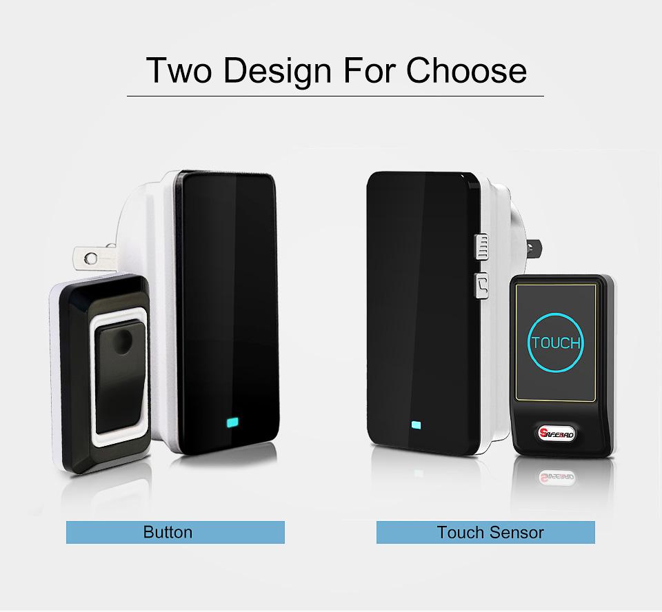 Wholesales Saful Waterproof Touch LED Door Bell EU/US Plug Wireless DoorBell kits 2 Push Doorbells Buttons+1 Receiver No Battery