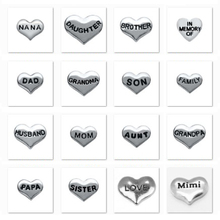 160pcs/lot Free Shipping 16 Designs Family Heart Alloy Mix Floating Locket Charms for Floating Living Memory Locket Pendant