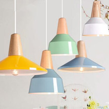Modern pendant light Wood and aluminum lamp colorful restaurant bar coffee dining room LED hanging light fixture