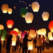 5Pcs Paper Chinese Lanterns Flying Wishing Lamps Hot Air Balloon Fire Love Heart Sky Lantern for Birthday Wedding Party Favors(China)