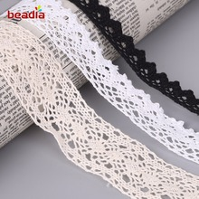 New! Apparel Sewing Fabric 5 Yards DIY Ivory White Black Trim Cotton Crocheted Lace Fabric Ribbon Handmade Accessories Craft