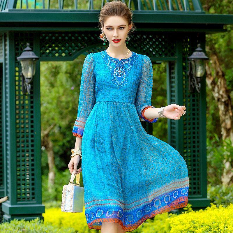 floral silk dress 2019 spring summer plus size beach casual bohemian long chiffon women dresses elegant blue flower loose fairy