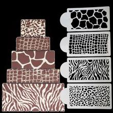 4 Pcs/set Cake Stencil Animal Skin Shape Cupcake Fondant Cake Mould Frostings Spray Cookie Molds Cake Side Decorating Tools(China)