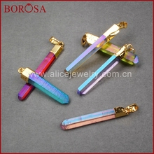 BOROSA Natural Aura Quartz Titanium Crystal Point Pendant Druzy Jewelry Crystal Quartz Stone Bead Gold Pendant G0360