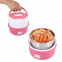 Stainless Steel 3 Layers Electric Heating Lunch Box Mini Electric Steamer Food Container Thermal Lunch Box Food Warmer 220V