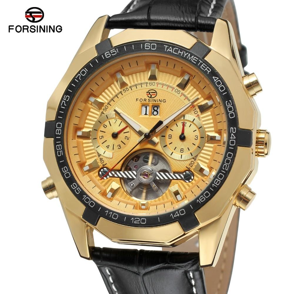 Forsining Mens Watch Genuine Leather Strap Automatic Movt Tourbillion Calendar Luxury Brand Wristwatch Color Gold FSG340M3<br>