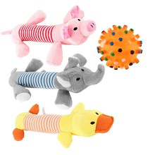 New Dog Toys Pet Puppy Chew Squeaker Squeaky Plush Sound Duck Pig & Elephant Toys 4 Style Dog Toys(China)