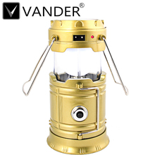 5Pcs/Lot Classic Style 6 LEDs Rechargeable Camping Light Collapsible Solar Camping Lantern Tent Light For Outdoor Camping Hiking