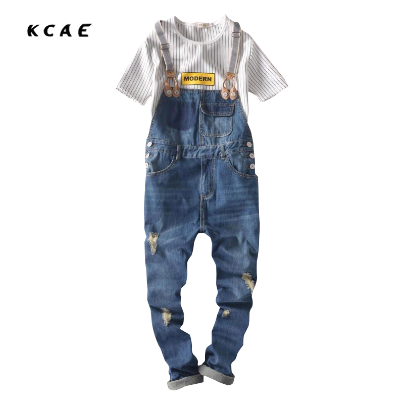 2016 Summer Men Denim Overalls Male Fashion Bib Pants Hole Design Man Suspenders Suit Jumpsuit Hot Plus Size S-XXLÎäåæäà è àêñåññóàðû<br><br>