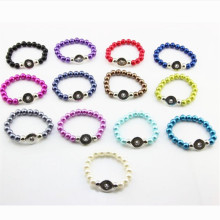 Wholesale Mixed 10pcs Ginger Snaps Bracelet Silver Fake Peral Bracelet Elastic Snap Button Bracelets For Women