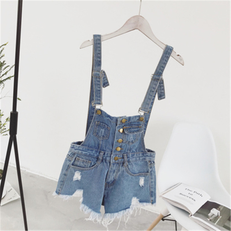 The new college wind denim strap shorts female summer hole loose Korean students was thin sling tide (11)