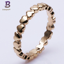 BAOPON Romantic Gold Color Heart to Heart Ring AAA Zirconia Cheap pandora Rings for Women Wedding Jewelry Dropshipping