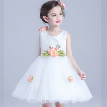 Summer Flower Girl Dress Tulle Wedding Dresses For Teen Girls Sleeveless Fluffy Kids Evening Gown Children's Girl Clothing(China)