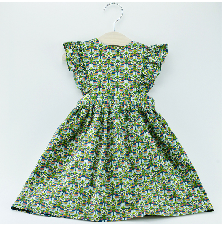 Girls  dress halter all-match floral green cotton<br>