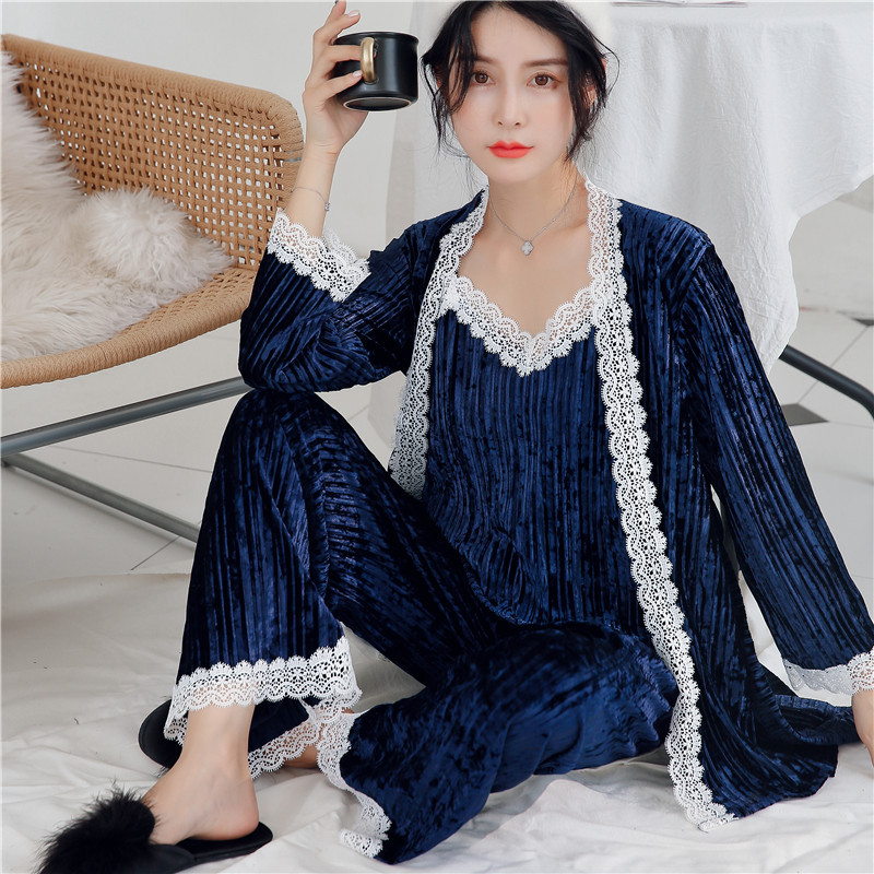 Lady Lace Patchwork 3 PCS Pajamas Set Velvet Suspender Sleepwear Women Winter Thick Velour Kimono Bathrobe Gown Nightgown M-XL