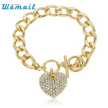 2017 New Fashion High Quality Goldtone Clear Iced Out Heart 8.5 Inch Cuban Link 12mm Toggle Arm sets APR Y8023(China)