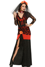 Hot Sales 2017 Sexy Adult Day of The Dead Diva Halloween Costume S8987 Sexy Halloween ghost vampire bride Fancy Dress