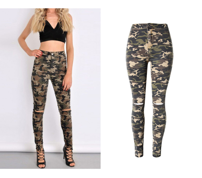 2017 New Brand Women Fitness Cloth Camouflage High Waist Elastic Stretch Holes Jeans Pencil Pants Street Style Denim Trousers (2)