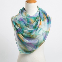 Leaves Printing Long Georgette Scarf Women Silk Scarves New Spring and Winter Girls Shawl Echarpe