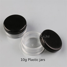 Free Shipping 10pcs 10 g Clear Plastic Cosmetic Jar, Used As Promotion Cream Glitters Sample Packaging Wholesale