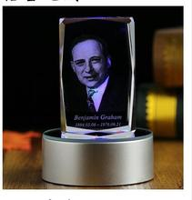 Godfather of Wall Street -- Stock negotiable securities spirit Benjamin Graham 3D crystal company office Desk art statue--