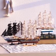Mediterranean Wooden Sailing Ship Handmade Carved Model Boat Home Nautical Decoration Crafts Gift Marine Sailing Ship Crafts(China)