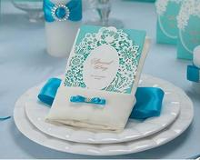 Luxury 50 Pcs/lot Free Shipping Laser Cutting Hollowed Flower Blue Design invitation Cards Elegant Wedding Invitation Cards