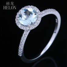 HELON Women Fashion Jewelry Ring Solid 10k White Gold 6mm Round Cut 0.88ct Aquamarine & Natural Diamond Engagement Wedding Ring
