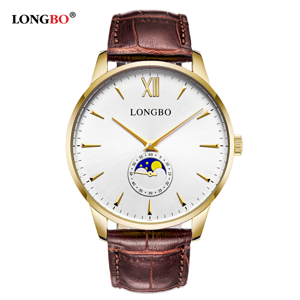 Fashion Men Watch Luxury Brand Quartz Wristwatch LONGBO Relogio Masculino For Male Leather Strap Quartz Watch 5008<br>