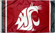 Washington State WSU Jersey Column Flag 3x5FT 100D 150X90CM NCAA Banner Polyester Custom flag grommets 6038, free shipping(China)