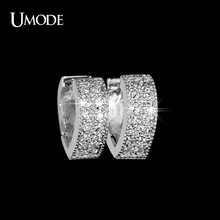 UMODE Unique Heart Shaped Loop with tiny CZ Hoop Earring UE0015(China)