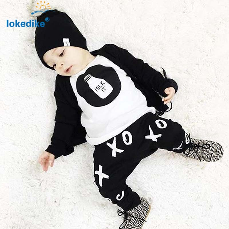 Baby Clothes Toddler Boys Clothing Set  Autumn 2017 New Europe American Style  Childrens Clothes 2pcs T-shirt Pants T2506<br><br>Aliexpress